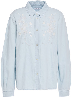 Claudie Pierlot Bead-embellished Embroidered Denim Shirt