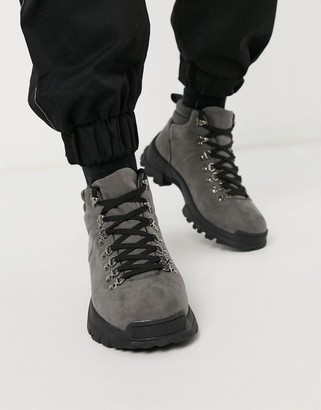 Asos DESIGN hiker boots in gray faux suede