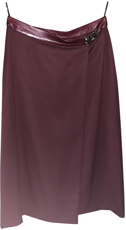Hermes Burgundy Wool Skirts