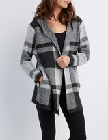 Charlotte Russe Plaid Hooded Cardigan