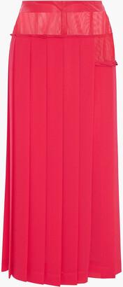 Victoria Beckham Organza-paneled Pleated Georgette Midi Skirt