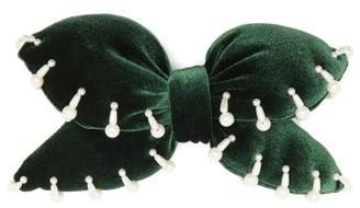 House Of Lafayette - Bimba Embellished Padded-velvet Bow Hair Clip - Green