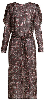 ATTICO Livia Rose-print Silk-chiffon Dress - Black Print