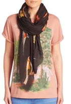 Stella McCartney Bird-Print Silk & Modal Scarf