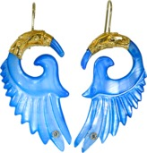 BOAZ KASHI Carved Blue Shell Earrings