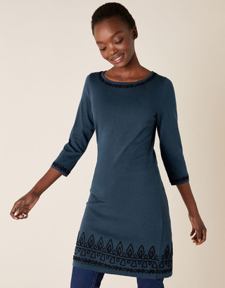 Monsoon Cornelli Trim Knit Dress Blue