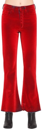 MM6 MAISON MARGIELA FLARED FLOCKED COTTON DENIM PANTS