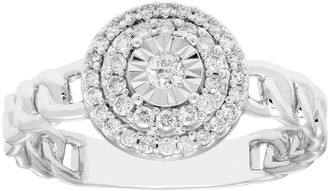 Boston Bay Diamonds Sterling Silver 1/4cttw Illusion Plate Double Halo Ring, I3