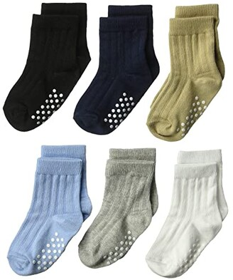 Jefferies Socks Non-Skid Rib Crew 6-Pack (Infant/Toddler) (Multi) Boys Shoes