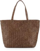 Neiman Marcus Woven Faux-Leather Reptile Tote Bag, Cocoa