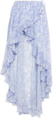 Caroline Constas Adelle Asymmetric Ruffled Floral-print Chiffon Skirt
