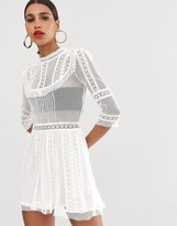 For Love & Lemons Victorian sheer lace panelled dress