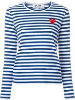 Comme des Garcons embroidered heart striped T-shirt - women - Cotton - L
