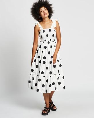 Reverse Women's White Midi Dresses - Polka Dot Midi Dress - Size S at The Iconic