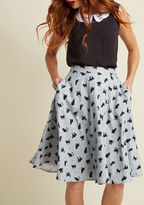 MCB1286A You definitely have that swing when you step out in this pale grey midi skirt! Part of our ModCloth namesake label, this circle skirt touts a vintage-inspired, high-waisted design with a black cat pattern, delicate dots, and roomy pockets, which will sure