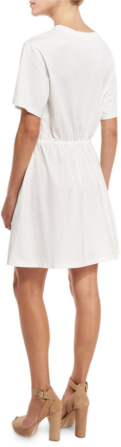 See by Chloe Short-Sleeve Embroidered Poplin Dress, Off White