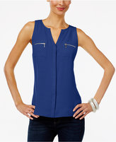 INC International Concepts Petite Split-Neck Zip-Pocket Top, Only at Macy's
