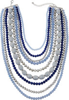 Lydell NYC Nine-Layer Statement Beaded Necklace, Blue