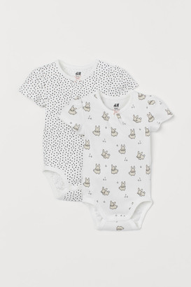 H&M 2-pack Short-sleeved Bodysuits - White