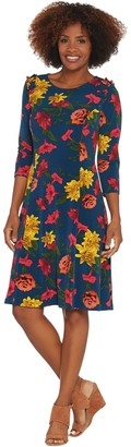 Susan Graver Printed Liquid Knit Dress with Faux Pearl Trim