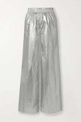 Norma Kamali Boyfriend Elephant Metallic Shell Wide-leg Pants - Silver