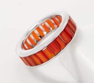 Baguette-Cut Gemstone Ring, Sterling Silver