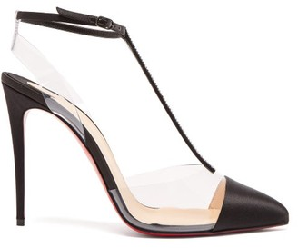 Christian Louboutin Nosy 100 T-bar Satin And Pvc Pumps - Black
