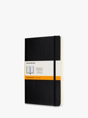 Moleskine Large Expanded Soft Cover Ruled Notebook, Black