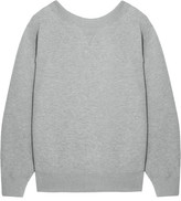 Sacai Oversized Lace-up Stretch Cotton-blend Jersey Sweatshirt - Light gray