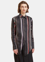 Yang Li Men's Oversized Contrast Striped Fashion Shirt In Black