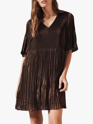 Phase Eight Ella Metallic Dress, Bronze