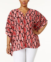 MICHAEL Michael Kors Size Snake-Print Poncho Top, a Macy's Exclusive Style