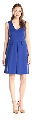 Lark & Ro Amazon Brand Women's Sleeveless V-Neck Flap Fit and Flare Dress