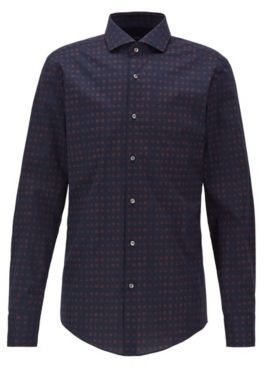 BOSS Slim-fit shirt in printed Italian stretch cotton