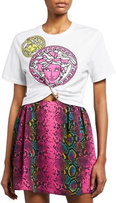 Versace Medusa Amplified Print Cropped T-Shirt