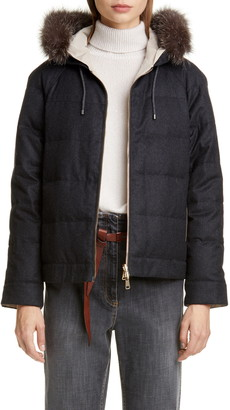 Brunello Cucinelli Hooded Reversible Jacket with Genuine Fox Fur Trim