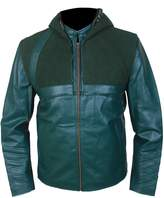 Feather Skin Men's Arrow Genuine Leather Jacket with Removable Hood-L