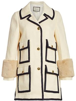 Gucci GG Embossed Jacquard Faux Fur-Trim Jacket