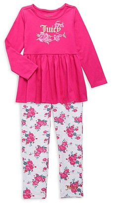 Juicy Couture Little Girl's 2-Piece Baby Doll Top Floral Leggings Set