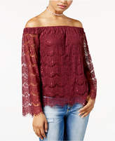 Love, Fire Juniors' Lace Off-The-Shoulder Top