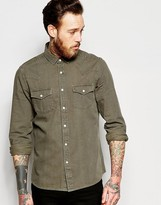 Asos Western Denim Shirt In Khaki In Regular Fit