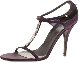 Gucci Purple Satin T-strap Sandals Size 40.5