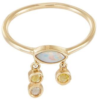 Xiao Wang Gravity' diamond Australian opal 14K gold