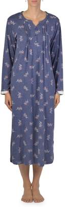 Claudel Printed Long-Sleeve Nightgown