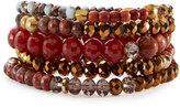 Nakamol Beaded Garnet, Agate & Crystal Stretch Bracelet Set