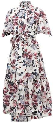 Erdem Stefanna Floral-print Silk-georgette Dress - White Multi
