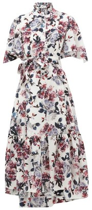 Erdem Stefanna Floral-print Silk-georgette Dress - Womens - White Multi
