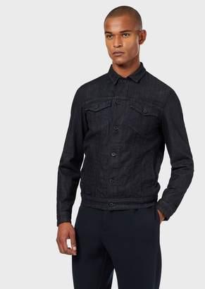 Emporio Armani Denim Jacket In Comfort Twill With Studs