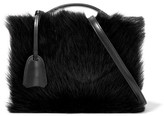 Mark Cross Grace Small Shearling-paneled Leather Shoulder Bag - Black