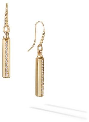 David Yurman Barrels Pave Diamond & 18K Yellow Gold Earrings
